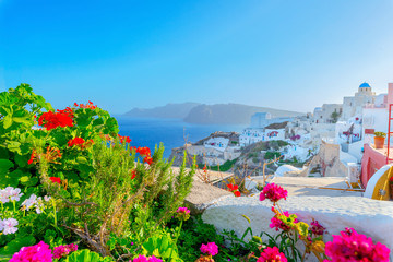 Greece famous Santorini island in Cyclades,view of traditional w