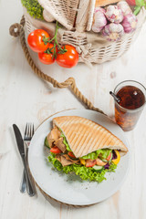 Kebab in grilled pita bread - high angle view