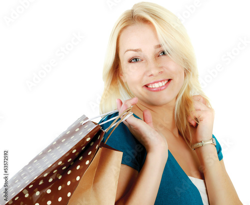 Happy woman with shopping bags, isolated on white background
