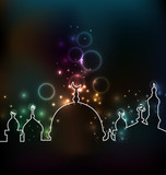 Cute glowing arabic background with mosque