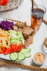 Kebab base meal on a plate