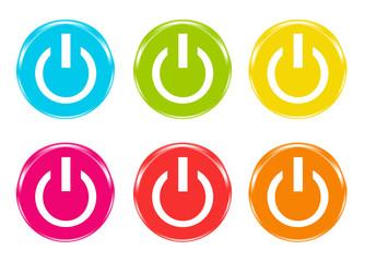 Iconos de colores con símbolo de encendido