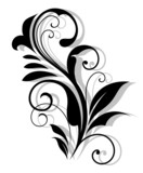 Curly floral embellishment poster