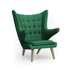 Isolated green classic armchair, icon of danish design