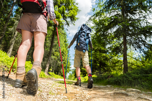 Hikers walking with trekking poles