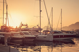 Yacht marina at sunset
