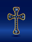 Christian Cross in Gold with Sapphire Stones