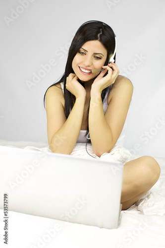 Woman chatting with boyfriend on the net