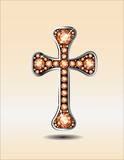 Christian Cross in Silver with Amber or Topaz Stones
