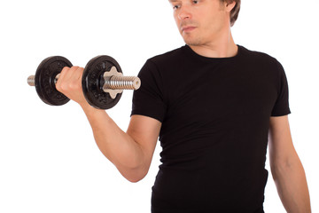 Man doing exercise with a steel dumbbell