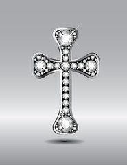 Christian Cross in Silver with Diamond Stones