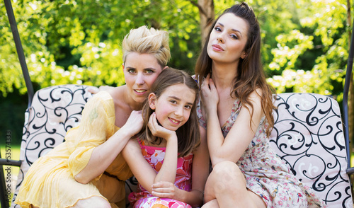 Three young women in the garden