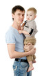 Portrait of a happy father with his little son. isolated