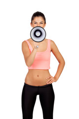 Attractive girl with fitness clothing and megaphone