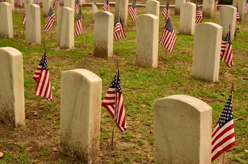American veteran's cemetery marked with flags