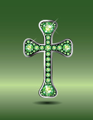 Christian Cross in Silver with Peridot Stones