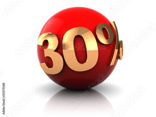discount thirty percent on red sphere