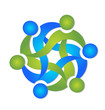 Teamwork business swooshes logo vector
