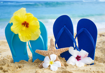 Flip flops and starfish with tropical flowers on sandy beach