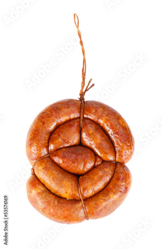 Fragrant smoked sausage on a white background