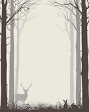 natural background with silhouettes of trees and animals