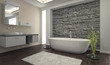Modern Bathroom interior with stone wall - 53576942