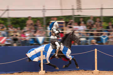 Medieval knight on a horse on the joust.