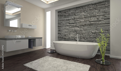 Leinwanddruck Bild Modern Bathroom interior with stone wall