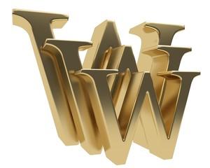 World wide web www glossy gold letter symbol