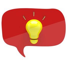 Illustration of a light bulb with an idea bubble