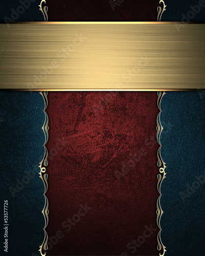 Wooden board with blue edge and gold trim