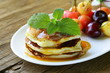 homemade pancakes with berries and mint