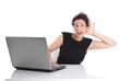 Frau - isoliert und gehörlos im Büro