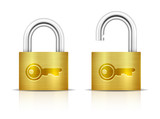 Metallic Padlock. Locked and unlocked Padlocks
