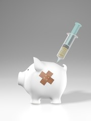 Piggy bank -  plaster and cash injection