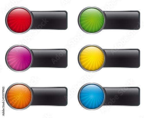 Sammlung Bunte Buttons mit Label
