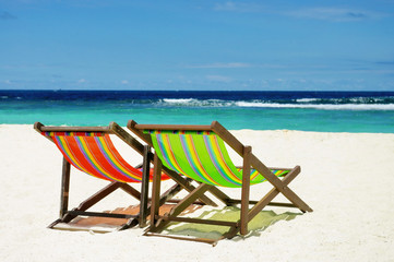 Beach chair with sea background