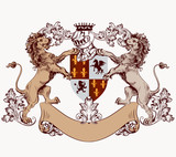 Heraldic design element with hand drawn lions and shield