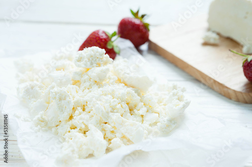 fresh homemade cottage cheese, dairy product