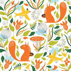 Seamless  pattern with the cute squirrels