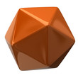 Illustration of orange geometric figure. Icosahedron
