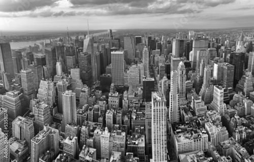 Poster New York City. Wonderful panoramic aerial view of Manhattan Midt