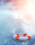Lifebuoy, floating on waves