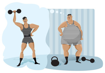 Retro weightlifter