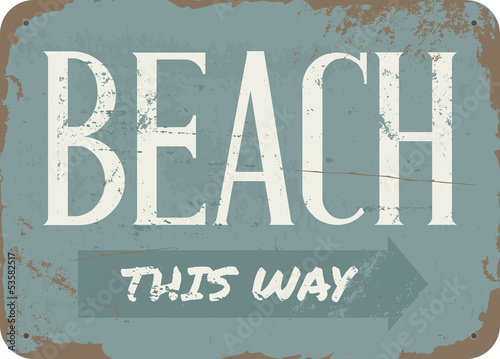 Vintage Beach Metal Sign - 53582517