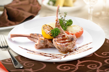 grilled veal with vegetables