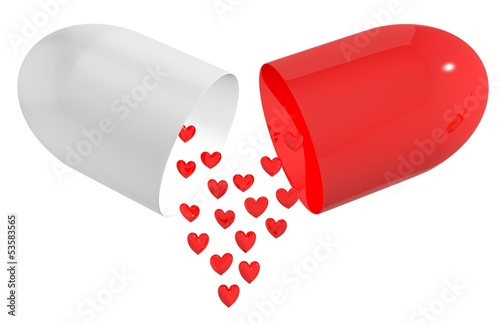 Concept piils for heart isolated on white