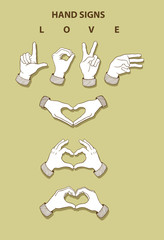 Hands Sketch 3, Love Sign Icons