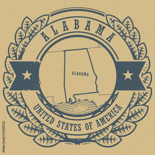Grunge rubber stamp with name and map of Alabama, USA, vector