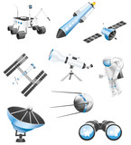 Space technology icons